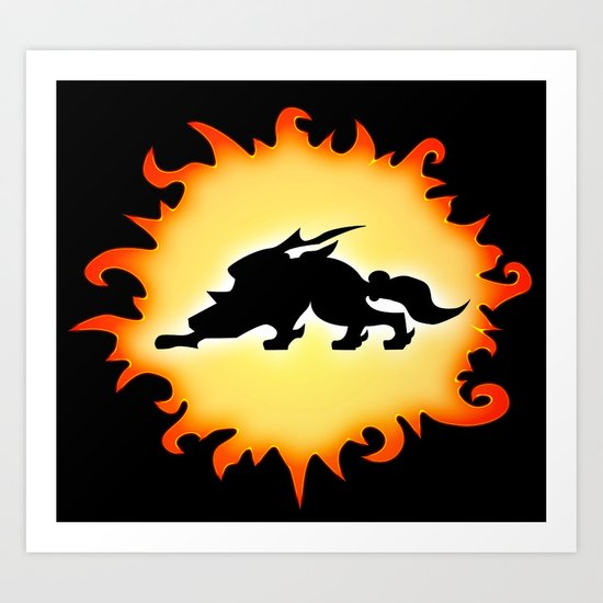 Amaterasu Logo- Black Art Print