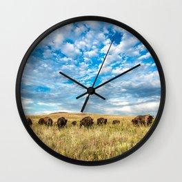 Grazing - Bison Graze Under Big Sky on Oklahoma Prairie Wall Clock