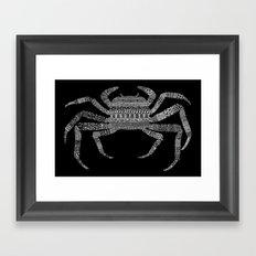 Crab (On Black) Framed Art Print
