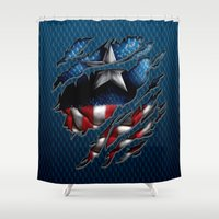 fandom Shower Curtains featuring vintage classic Captain steve iPhone 4 4s 5 5c 6, pillow case, mugs and tshirt by Greenlight8