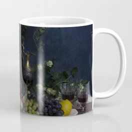 Classic  still life with flowers, fruit, vegetables and wine Coffee Mug