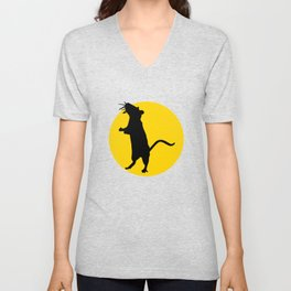 rat and moon Unisex V-Neck