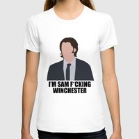 sam winchester T-shirts featuring Sam F*cking Winchester by SuperSamWallace