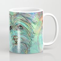 yorkie Mugs featuring Dog Illustration ; Yorkie by Lizzy Zumbaugh