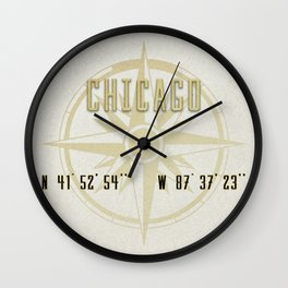 Chicago - Vintage Map and Location Wall Clock