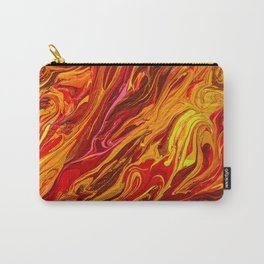 Fire red and orange abstract paint swirls Carry-All Pouch