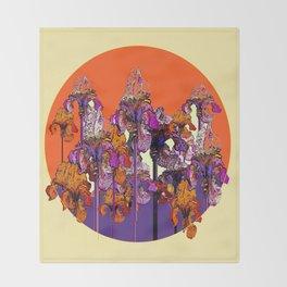 """modern art """" PURPLE & CREAM """" ORANGE IRIS GARDEN Throw Blanket"""