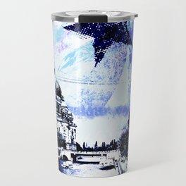 Berlin urban blue mixed media art Travel Mug