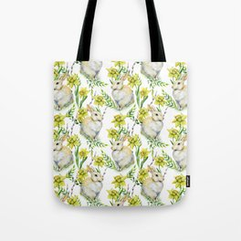 Spring yellow green watercolor daffodil rabbit pattern Tote Bag