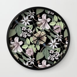 lush floral pattern with bee and beetles II Wall Clock