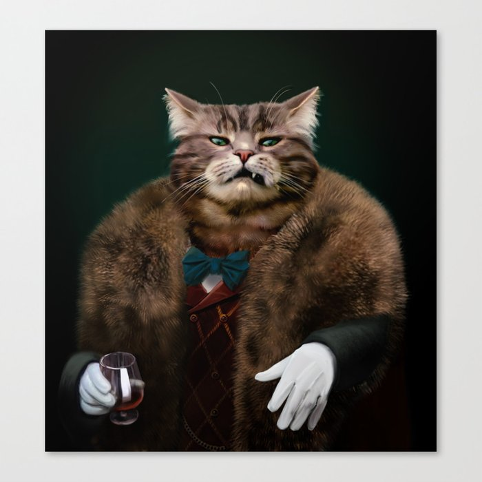 Arrogant sophisticated dressed cat boss looking with contempt Canvas Print