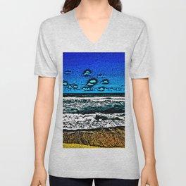Ocean, Sky, Beach, and Sand Unisex V-Neck