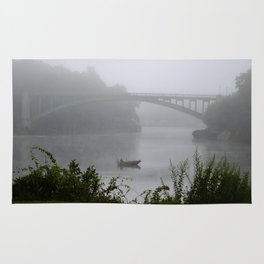 Foggy Fishing Day on the Delaware River Rug