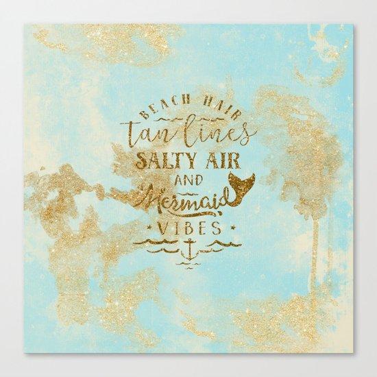 Beach-Mermaid-Mermaid Vibes - Gold glitter lettering on aqua glittering background Canvas Print