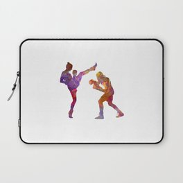 Woman boxwe boxing man kickboxing silhouette isolated 01 Laptop Sleeve