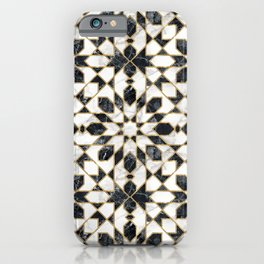 Black and white marble Moroccan mosaic iPhone Case