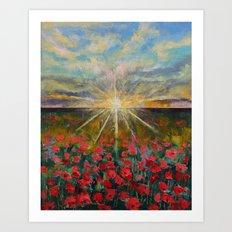 Starlight Poppies Art Print