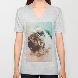 Chow Chow Digital Watercolor Painting Unisex V-Neck