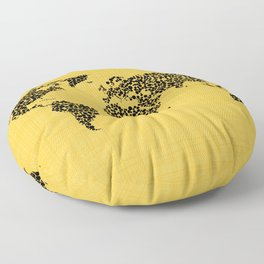 Yellow world map Floor Pillow