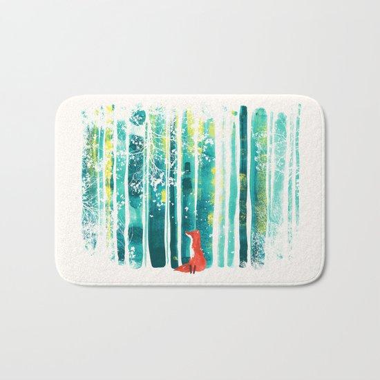 Fox in quiet forest Bath Mat