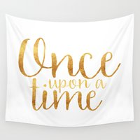 once upon a  time Wall Tapestries featuring Once Upon a Time - Gold by bookwormboutique