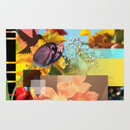 Colorful Abstract Design Girly Collage Rug