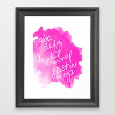 Magenta Watercolor Alphabet Framed Art Print