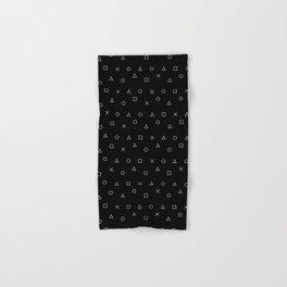 black gaming pattern - gamer design - playstation controller symbols Hand & Bath Towel