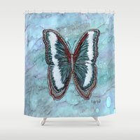 patriotic Shower Curtains featuring Patriotic Butterfly by Linda Ginn Art ©