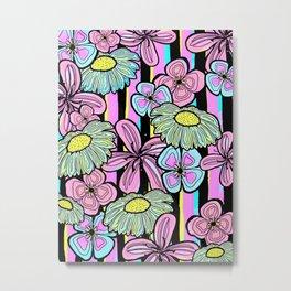 Pinstriped Florals in Pink & Aqua Metal Print
