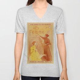 Art by women art nouveau ad drawing Unisex V-Neck