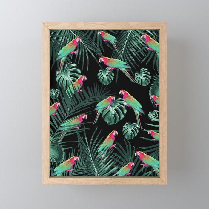 Parrots in the Tropical Jungle Night #1 #tropical #decor #art #society6 Framed Mini Art Print