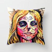 dia de los muertos Throw Pillows featuring Dia De Los Muertos by Liz Haywood