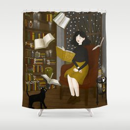 floating books Shower Curtain