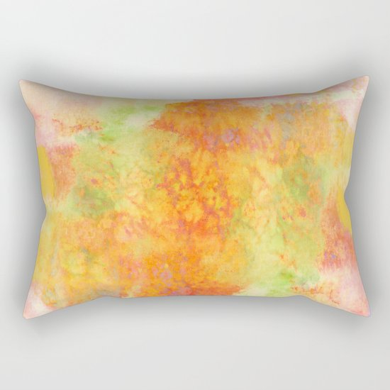 PASTEL IMAGININGS 3 Colorful Pretty Spring Summer Orange Yellow Peach Abstract Watercolor Painting Rectangular Pillow