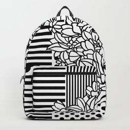 Bouquet Patchwork with dots and stripes (black and white) Backpack
