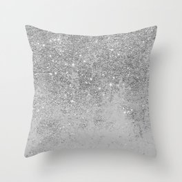 Elegant chic faux silver glitter gray marble Throw Pillow