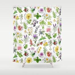 Plants & Herbs Alphabet Shower Curtain
