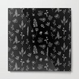 Black Wildflowers S Metal Print