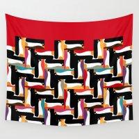 herringbone Wall Tapestries featuring herringbone penguin by Sharon Turner