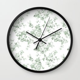 Elegant vintage green white roses shabby floral Wall Clock