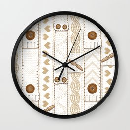 Scarves Knitted Buttoned - Beige Wall Clock