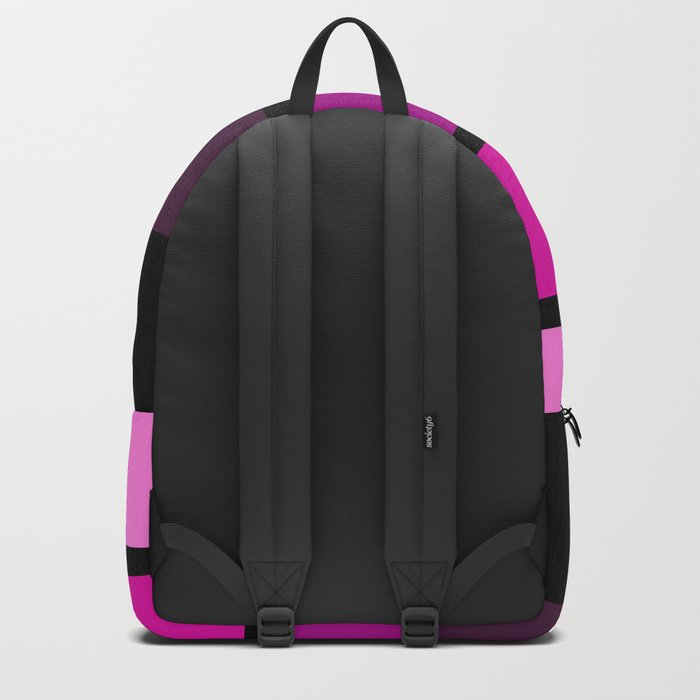 Black  , pink , purple striped pattern . Backpack