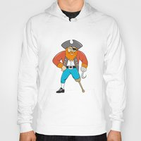 captain hook Hoodies featuring Captain Hook Pirate Wooden Leg Cartoon by patrimonio