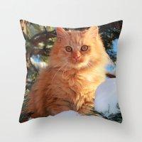 garfield Throw Pillows featuring Winter Garfield  by Lucie