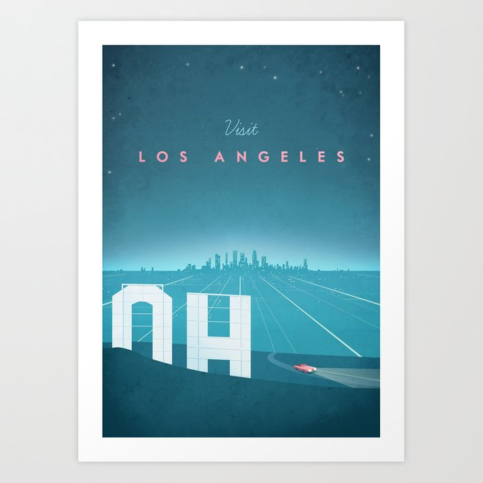 Vintage Los Angeles Travel Poster Art Print