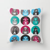 robots Throw Pillows featuring Robots by Kakel