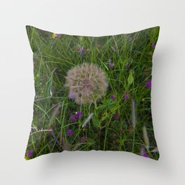 Field of flowers and Dandelions Throw Pillow