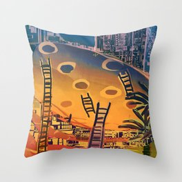 Time through Time, from Caves to Skyscraper, from Organic to Geometric Throw Pillow