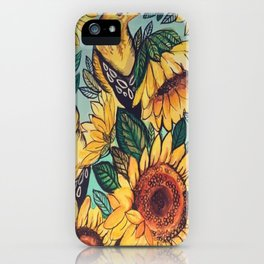 Sunflowers and Goldfinches iPhone Case